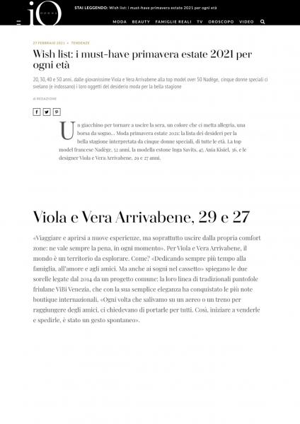 iodonna.it, ViBi Venezia, February 2021